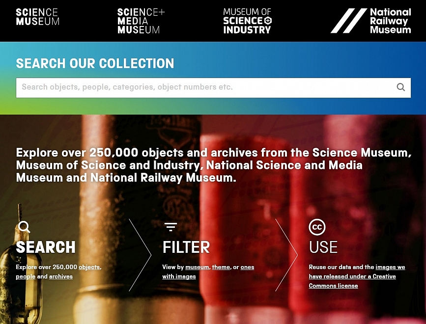 Science Museum collections homepage